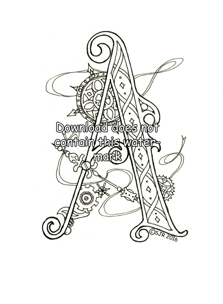 8 best Illuminated Initials (my originals) images on Pinterest - best of mattel coloring pages alphabet