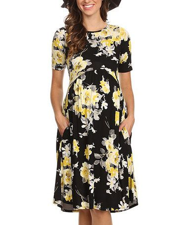 Chris & Carol Black & Yellow Floral Maternity Dress #zulily #zulilyfinds