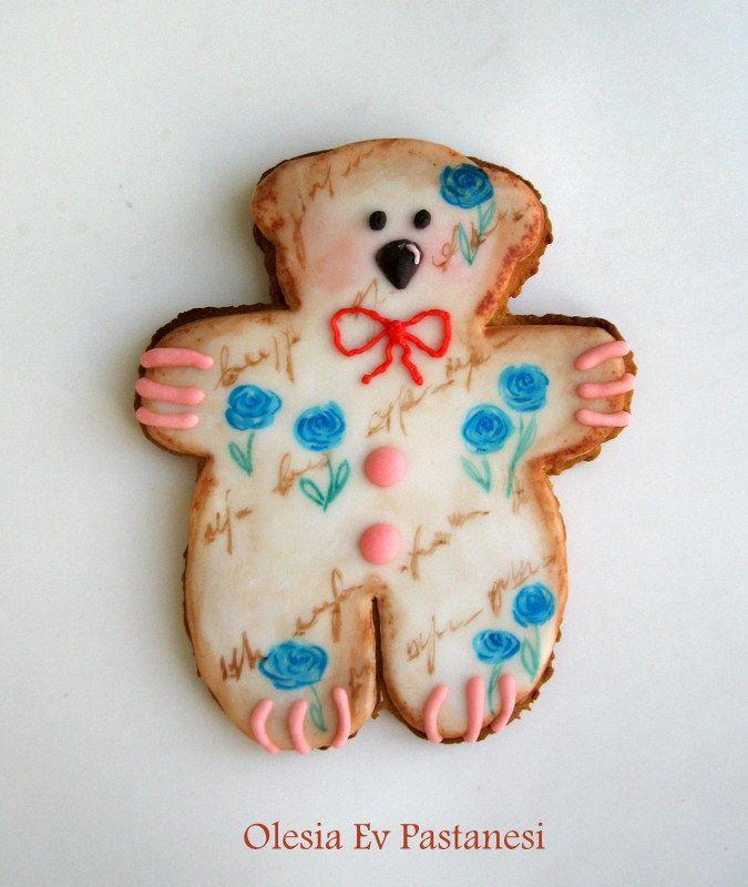bear cookie/royal icing cookie,ayı kurabiye