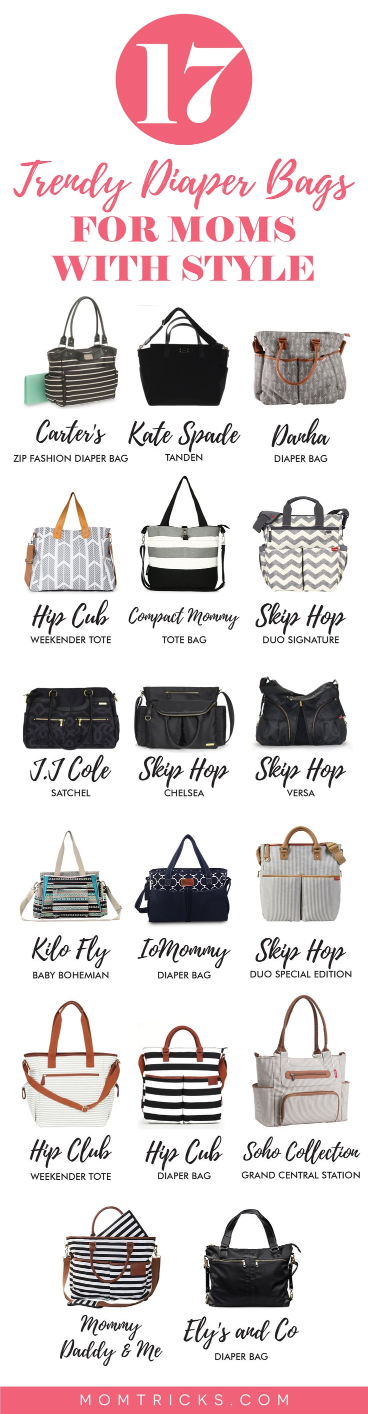 Diaper bags don't have to be frumpy. Here are some amazing little diaper bags you'll LOVE to carry!