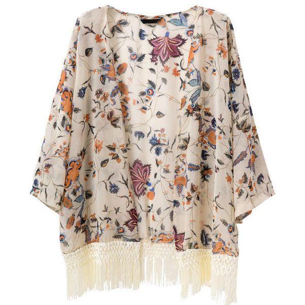 Tassel Floral Loose Chiffon Kimono ($17) ❤ liked on Polyvore