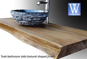 Plan de travail en teck pour salles de bain 4 mat riaux - Plan de travail en bois massif ...