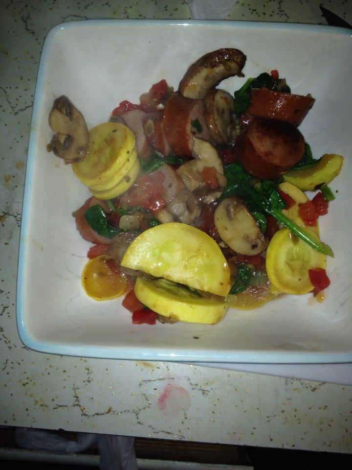 Sausage yellow squash mushroom spinach and sales low cal low carb yummy