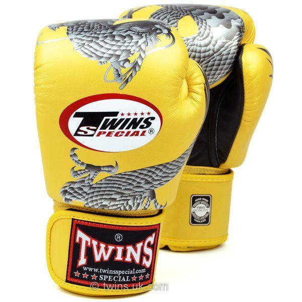 FBGV-23 Twins Gold-Black Dragon Boxing Gloves