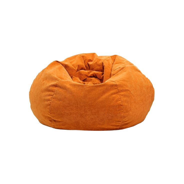 Extra Large Microfiber Faux-Suede Corduroy Bean Bag Chair, Orange