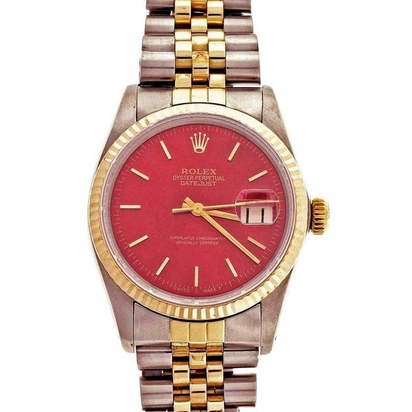 Preowned Rolex Yellow Gold Stainless Steel Datejust  Colored Dial... ($4,995) ❤ liked on Polyvore featuring jewelry, watches, yellow, holiday watches, vintage wrist watch, pre owned watches, yellow watches and preowned watches