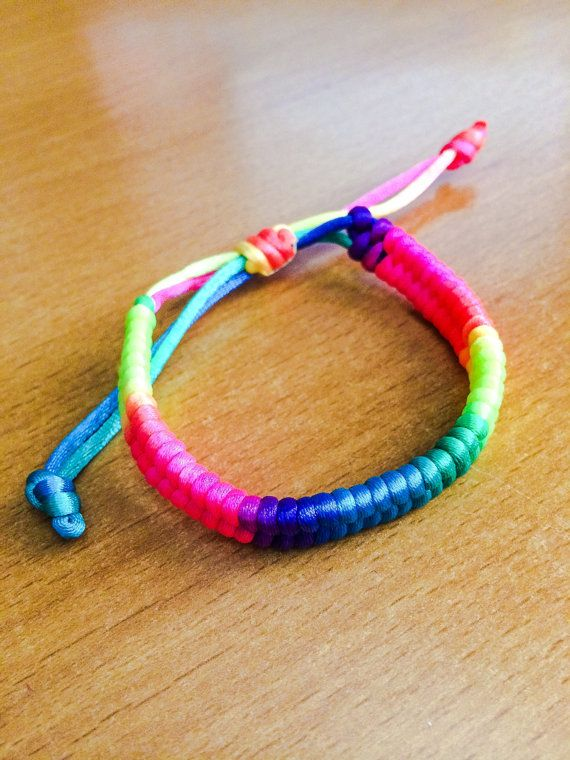 Neon Rainbow Friendship Bracelets by ArmCandySquared on Etsy, $1.99