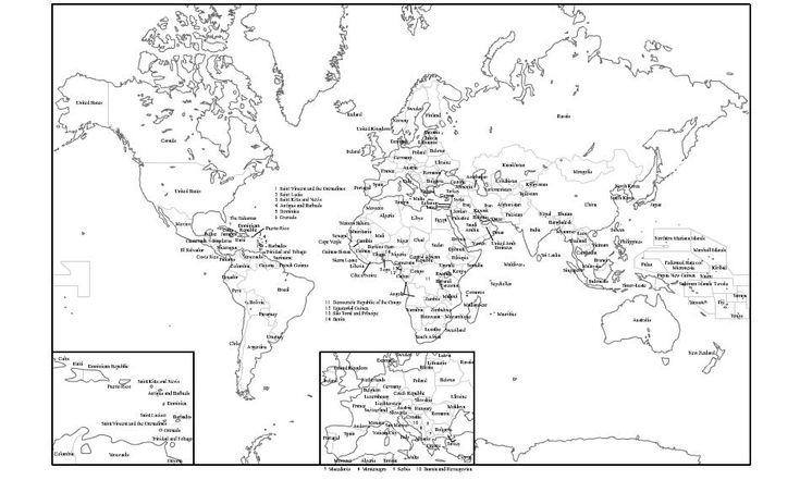 Mapa político del Mundo blanco y negro para imprimir Mapa de ...
