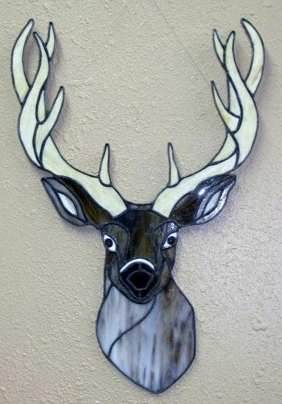 Stained glass Deer head (eyes follow you) [deerhead] - $145.00 : Glass Moose Cart, handcrafted glass, beads/supplies, jewelry, wood & metal art, signs