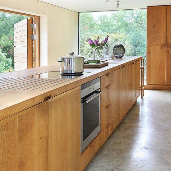 Long wooden kitchen island
