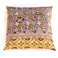 Love these pastel batik pillows custom made from vintage Javanese sarongs.