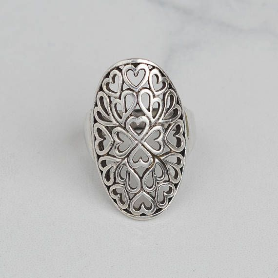 Vintage Sterling Silver Celtic Style Heart Ring