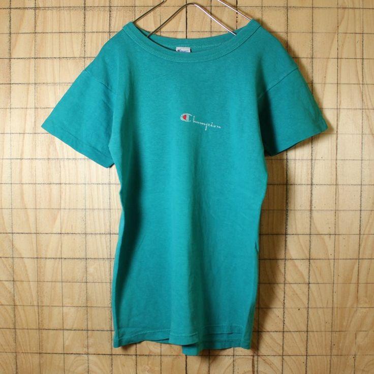 80s 古着 Champion チャンピオン ワンポイント Tシャツ USA製 グリーン トリコタグ プリント 半袖 レディース・キッズサイズ ts487