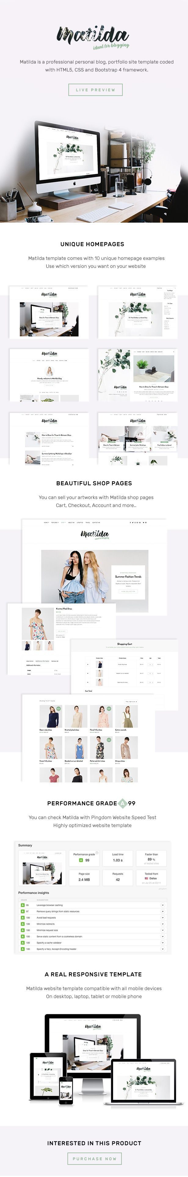 Matilda Lifestyle Minimal Responsive HTML Blog