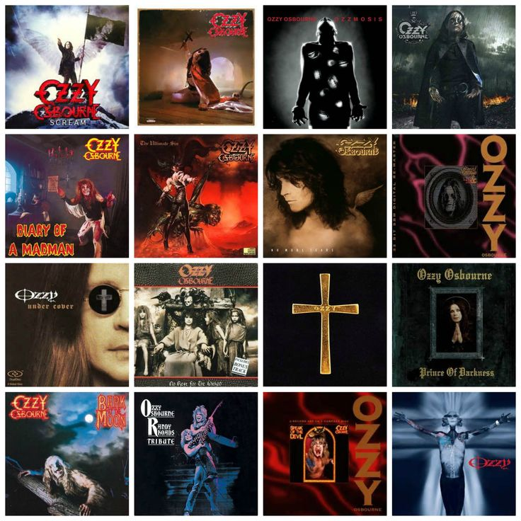 All Ozzy Osbourne Album Covers including: Scream  Blizzard of Ozz  Ozzmosis  Black Rain  Diary of a Madman  The Ultimate Sin  No More Tears  No Rest for the Wicked  Ozzman Cometh  Prince of Darkness  Bark at the Moon Ozzy Osbourne  Randy Rhoads Tribute Speak of the Devil  Down to Earth   ~ Amen ~