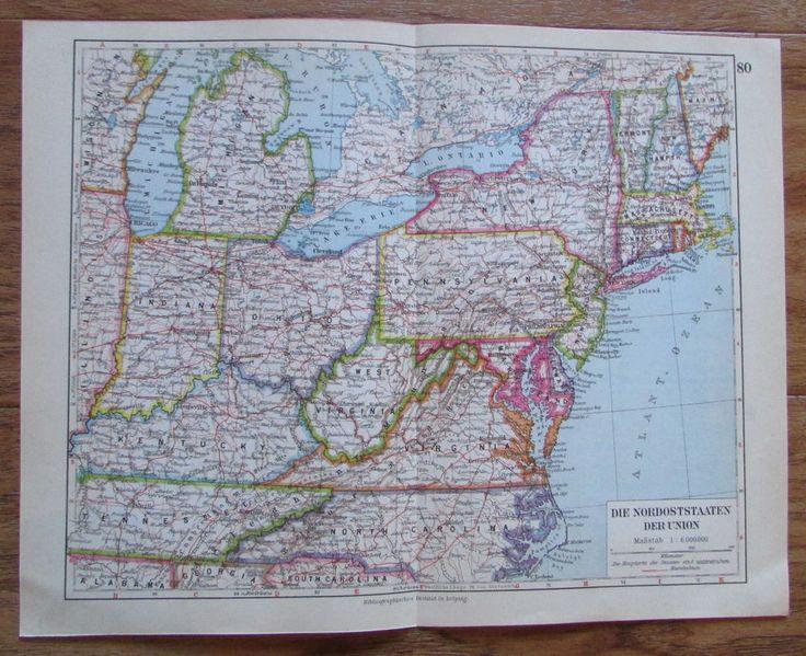Nordoststaaten der Union USA - alte Landkarte Karte old map 1928
