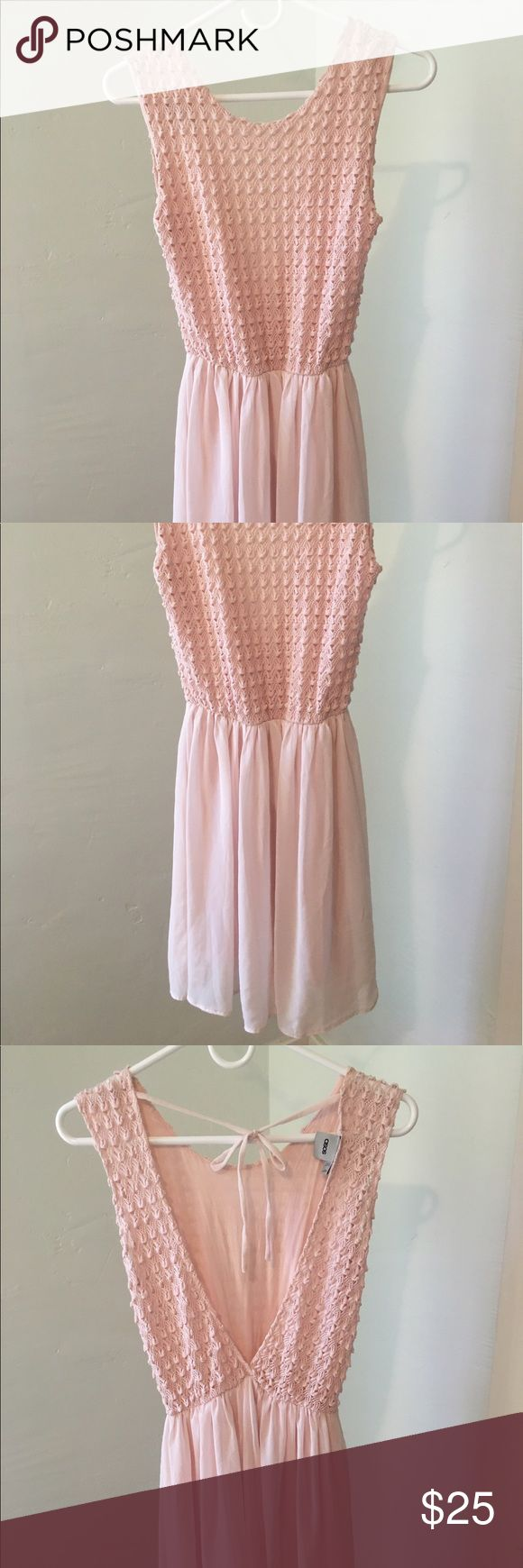Pink Asos dress Crochet top and sheer bottom with lining ASOS Petite Dresses Mini