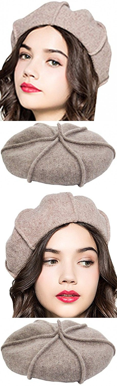 Supergirl Women's Wool Beret Hat Fashion Bow Homburg Hat New Khaki