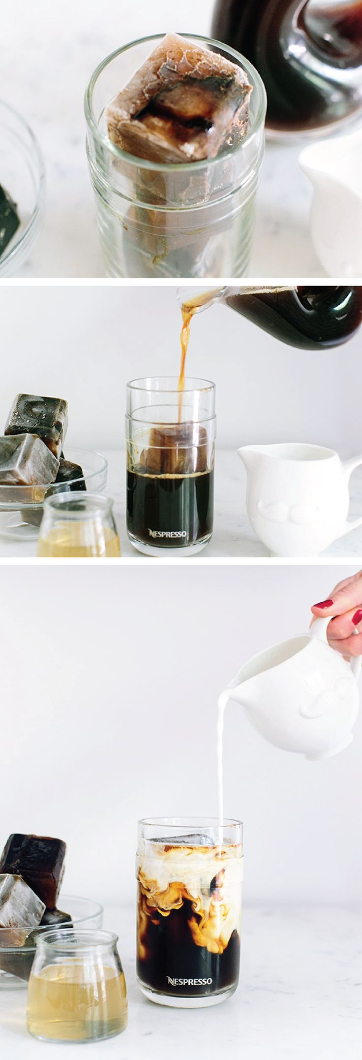 This weekend, try something new with Nespresso. This Caramel Iced Coffee recipe uses coffee ice cubes—keeping your drink from becoming watered down and ensuring it's delicious from start to finish.