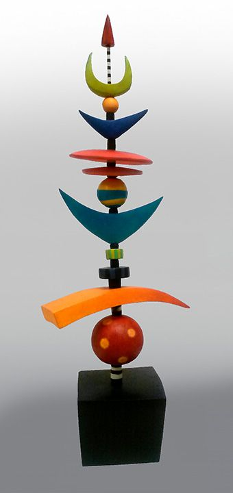 Happy Happy Totem. Clay, acrylic paint. Assembled on steel rod.