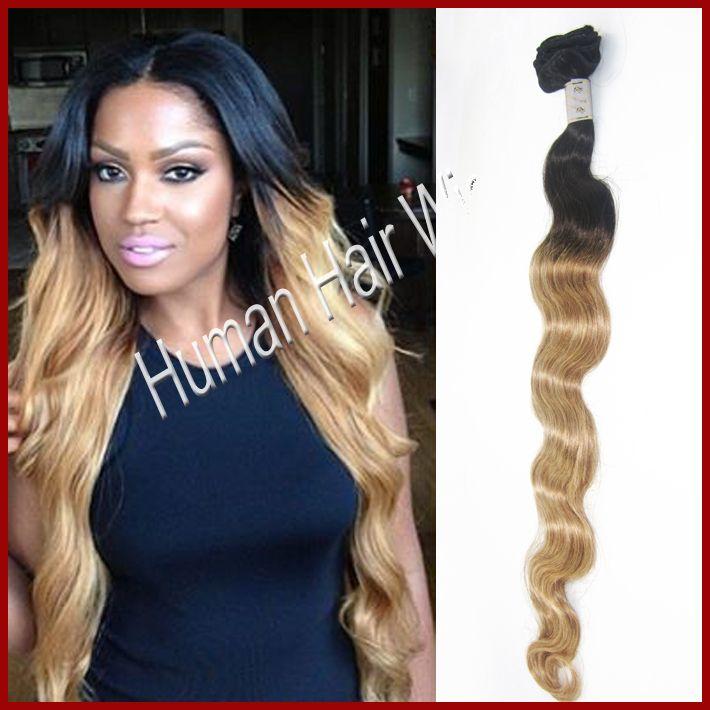 Бразильский уток человеческих волос ломбер цвет два тона ( натуральный черный T #27 ) два тона наращивание волос класс 5 смешанные длины