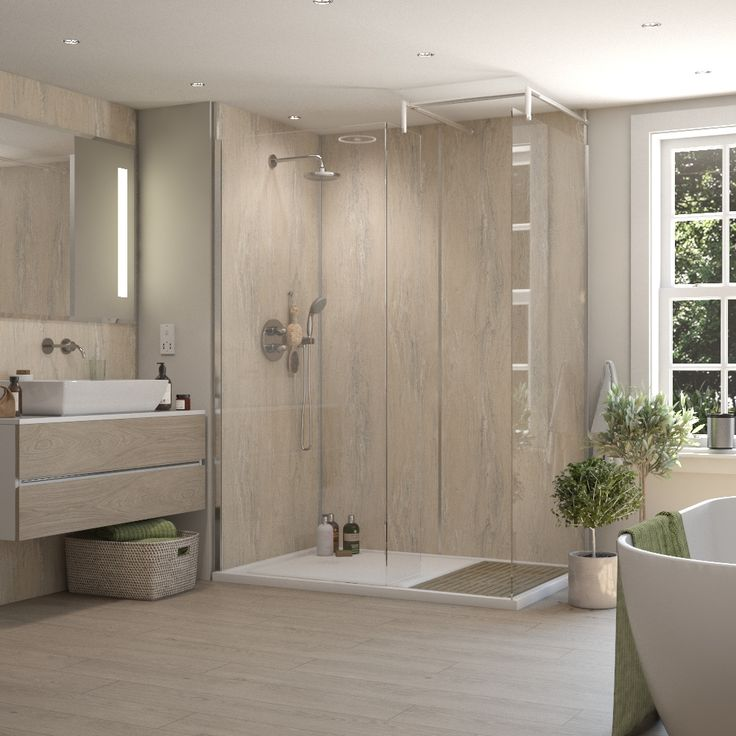 Medusa Beige - luxurious and naturally detailed, this blend of natural beige and dominant brown has its own mediterranean appeal.     Medusa Beige Tex WBP Plywood Shower Panel (2420mm x 1200mm x 11mm)  Square Edged Plywood based Shower Panel in a Medusa Beige Tex finish.  Product Details Height- 2420mm Width- 1200mm Thickness- 11mm Colour- Medusa Beige Jointing- Square Edged Fire Rating- Class 2 Surface Spread of flame as standard BS476 Part 7. Can be tailored for Class 1 or Class 0…