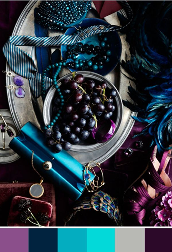 violet, indigo, peacock, turquoise, pewter, and eggplant