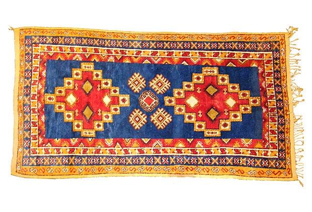 "8'6"" x 4'11"" Moroccan Tribal Rug, Blue"