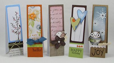 "Scrap-ling cards are strips of 1¼""x 4¼"" By:Shari Carroll Great way to make a card that could be a bookmark too."