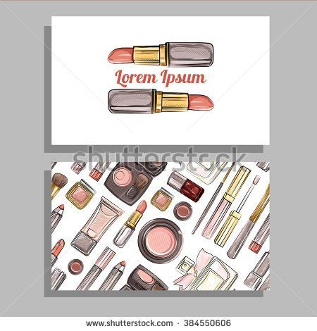 Make-up artist business card. Beauty salon. Vector template with makeup items pattern - brush, pencil, eyeshadow, lipstick and mascara. Hand drawn illustrations.