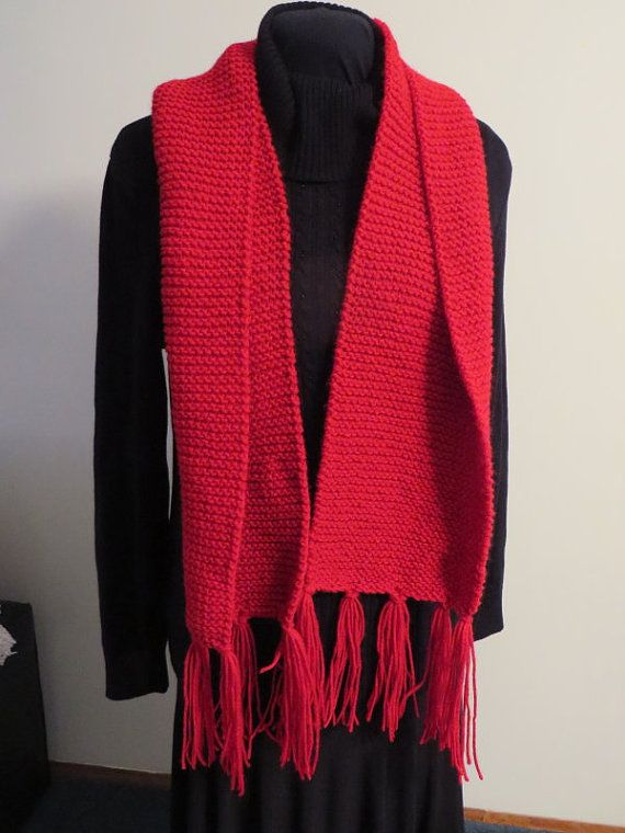 Cherry Red Acrylic Handknitted Scarf