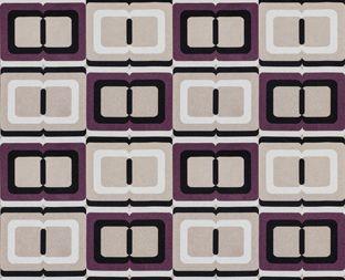 【ミッドセンチュリー】レトロモダンの幾何学柄のプリントのオーダーカーテン&シェード【LS-9085】パープル&ベージュ
