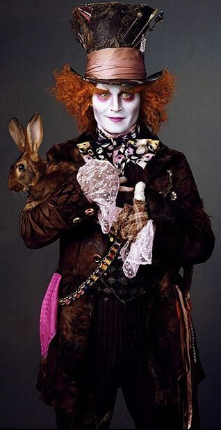 Jonny as the mad hatter in Alice in Wonderland. Costume design by Colleen Atwood.