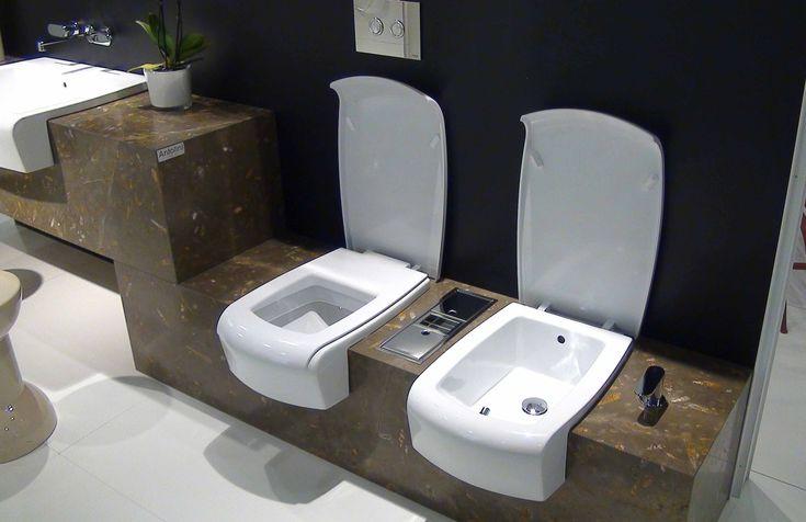 Flaminia Una WC Bidet in Marmorplatte eingebaut  - www.badeinrichtung.it