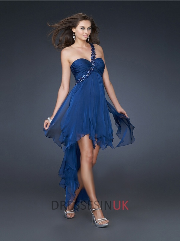 Sexy Royal Blue One Shoulder Sweetheart High-low Chiffon Prom Dress