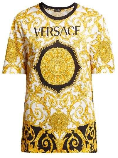 3565462ac8 Versace Baroque Print Cotton T Shirt - Womens - Gold Multi   Dijital ...