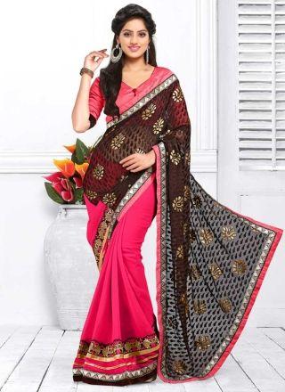 Deepika Singh Magenta And Black Brasso Georgette Embroidery Work Half N Half Saree