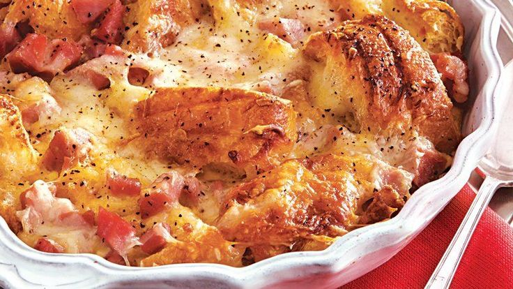Croissants, ham, cheese and eggs snuggle down in a casserole. Try this easy make-ahead recipe for breakfast or brunch.