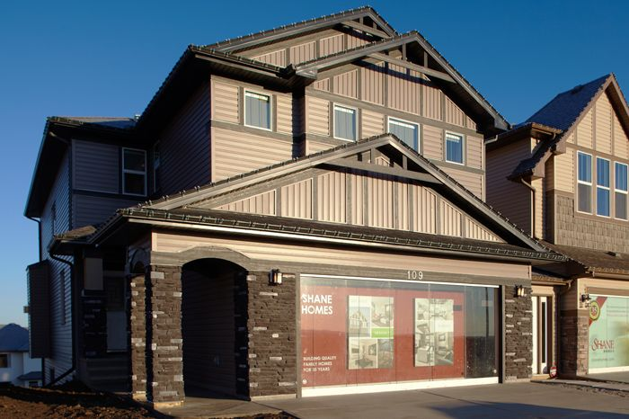 Exterior of the Tofino II showhome in Hillcrest in Airdrie by Shane Homes.