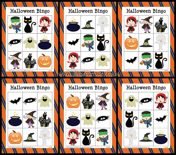 free halloween bingo has 10 cards - Preschool Halloween Bingo