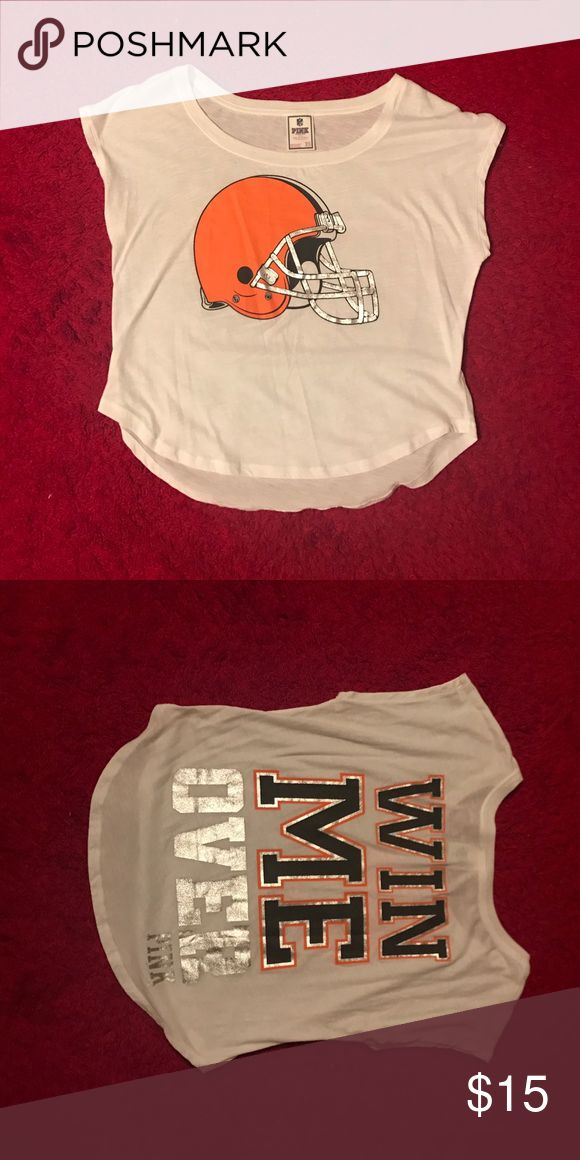 Super cute pink Cleveland Browns crop top Crop top is basically brand new! Super cute for any Cleveland Browns fan! PINK Victoria's Secret Tops Crop Tops