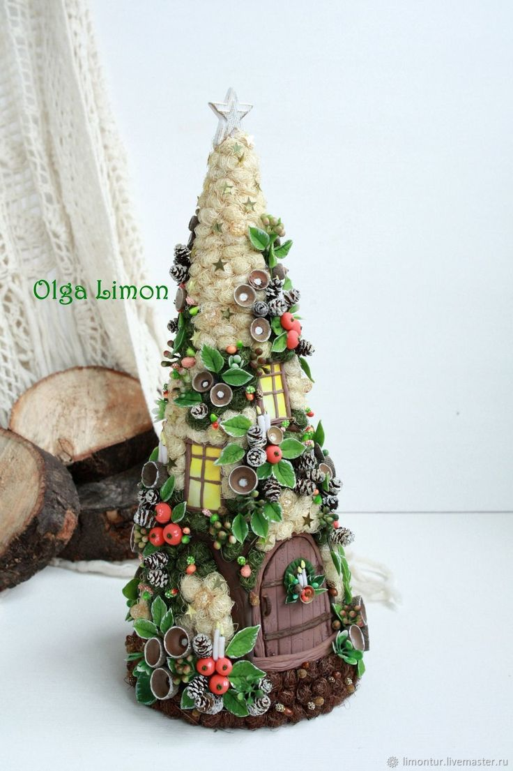 """Купить Елочка """"Волшебный домик!"""" - Лепка, Керамика, Новый Год, елка, оранжевый, подарок, топиарий"""