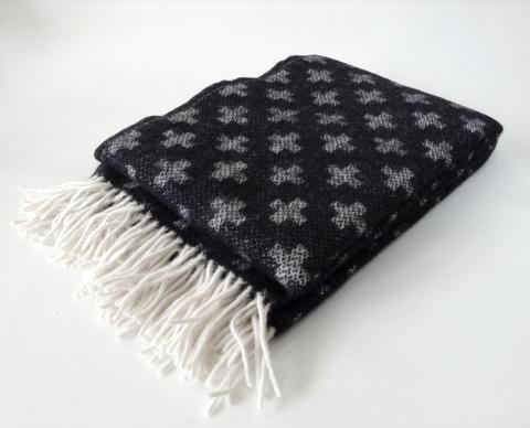 Klippan Lambs Wool Woven Blanket - Cross Black * * 100% NZ WOOL * *