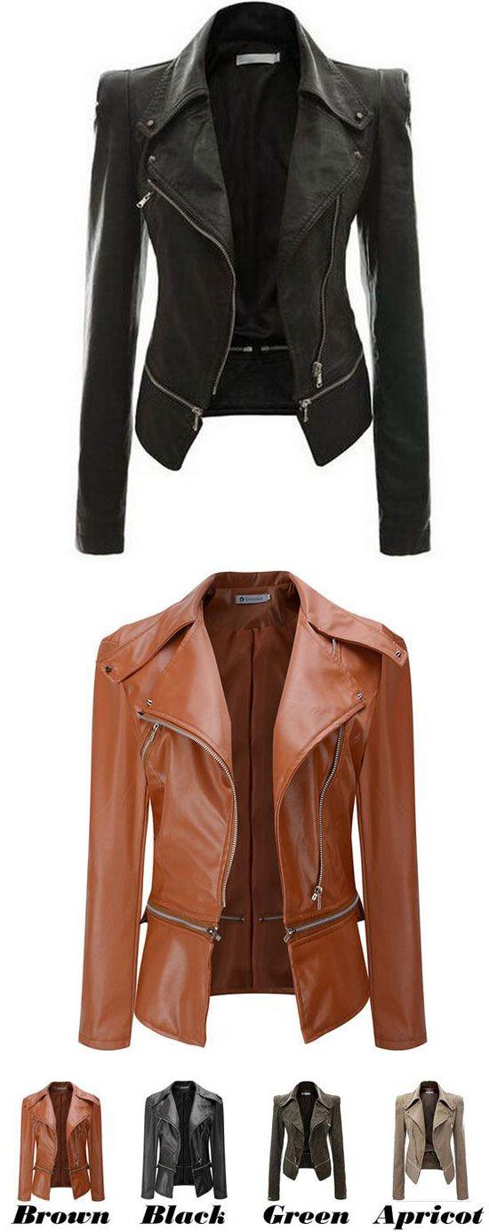 Fashion PU Leather Zipper Jacket Autumn Coat PU Clothes Motorcycle Leather Jacket for big sale! #jacket #leather #coat #women