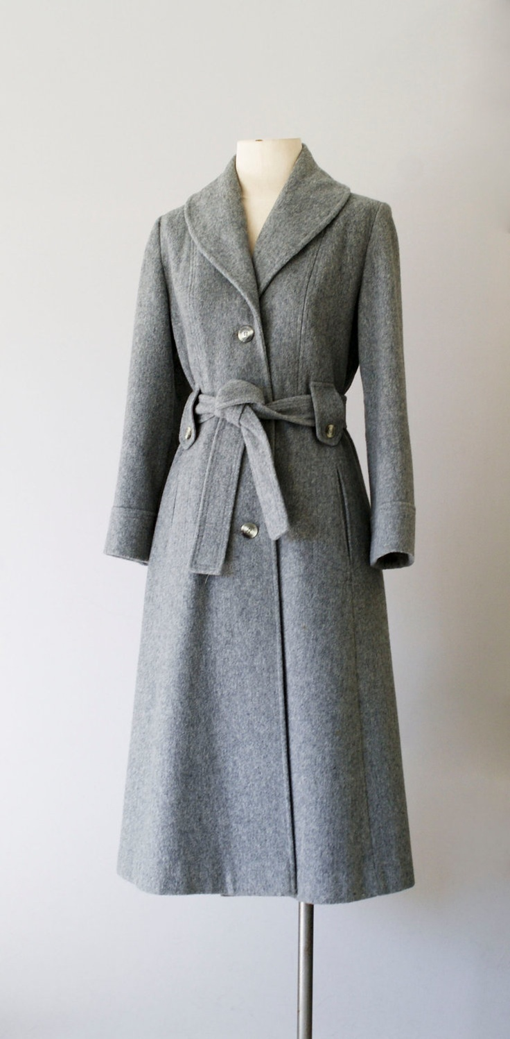Vintage 1970's princess cut belted coat in grey wool with matching tie belt.