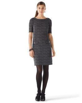 White House | Black Market Tweed Jacquard Knit Shift #whbm...tried this on today and loved it! Too bad it was 6 inches too short for the dress code.