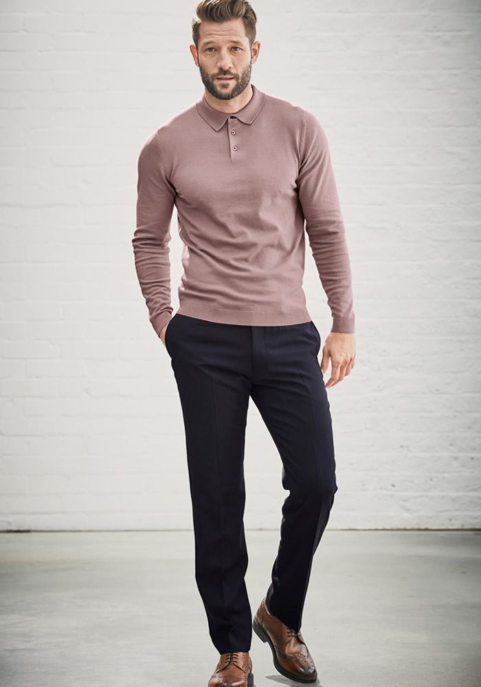 Today's Look: Pink Polo. Photo: Next. #ootd #menswear #mensfashion #mensstyle #instafashion #polo #poloshirt #longsleevepolo #pink #brogues