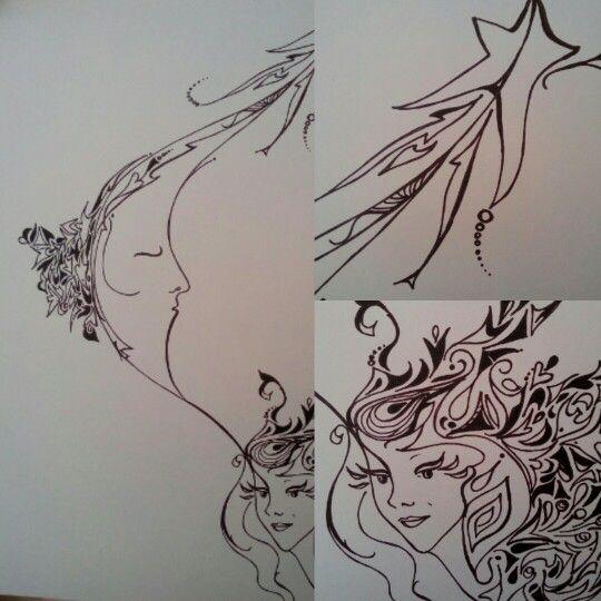Sister moon... Ink pen
