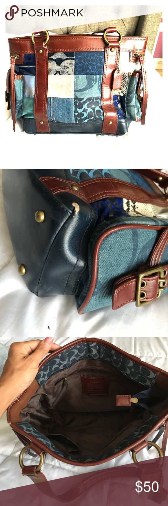 Coach purse Blue patchwork Coach purse. Has wear on all 4 corners as pictured-price reflects wear. Otherwise in pristine condition. Clean inside. Coach Bags Shoulder Bags
