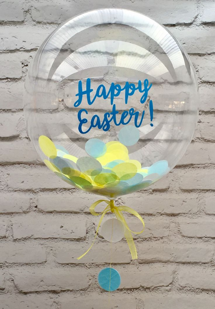 Happy Easter personalised lemon yellow and pale blue confetti balloon available from The Feather Balloon Company website